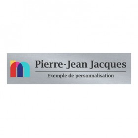 Plaquette Argent Lustré et Noir avec logo