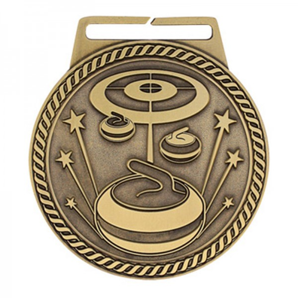Médaille Or Curling 3 po MSJ847G