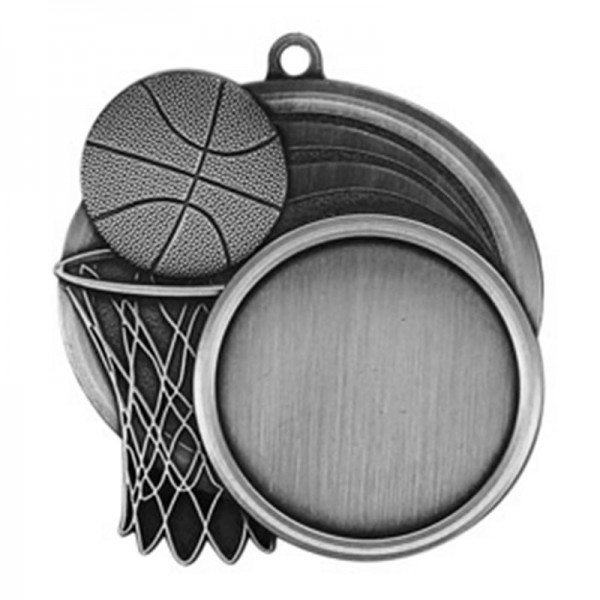 Médaille Argent Basketball 2 1/2 po MSI-2503S