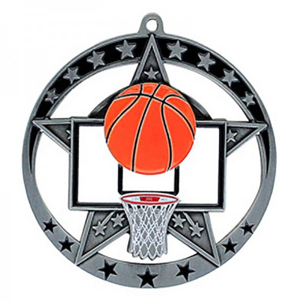 Médaille Argent Basketball 2 3/4 po MSE634S
