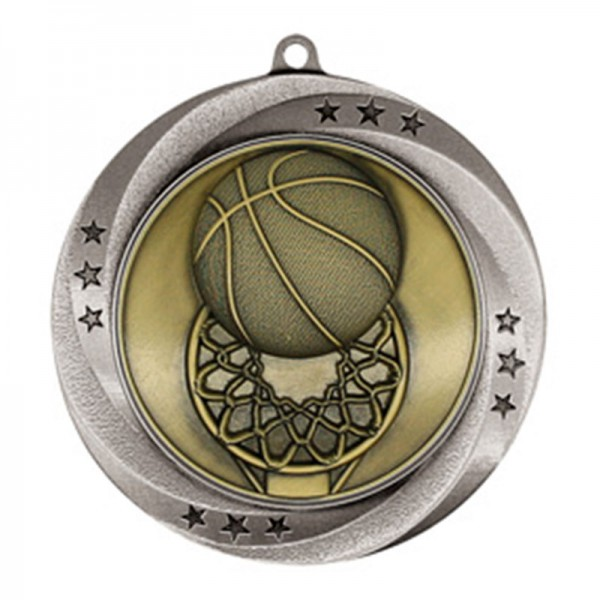 Basketball Silver Medal 2 3/4 in MMI54903S