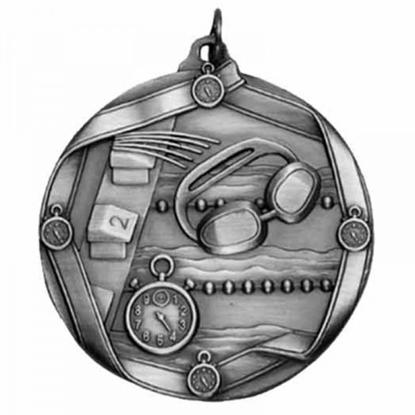 Swimming Silver Medal 2 1/4 in MS614AS