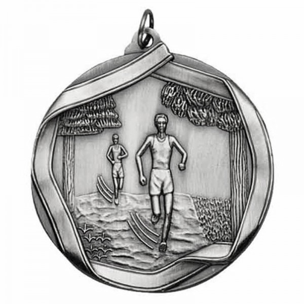 Cross Country Silver Medal 2 1/4 in MS655AS