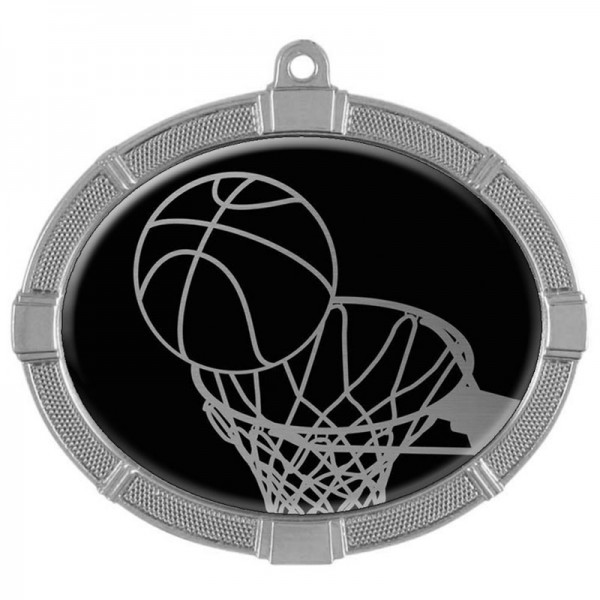 Basketball Silver Medals 3 3/8 in MMI62803S