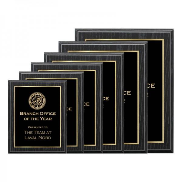 Black Oak Plaque - Laser Series PLV120-OAK-G-SIZES