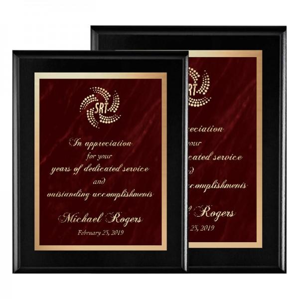 Plaque Noire - Série Marble Mist PLV465-BK-RED-SIZES