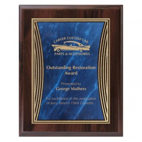 Cherrywood and Blue Tribute Plaque PLV555CW-BL