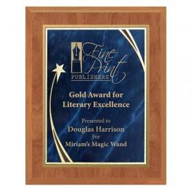 Maple and Blue Star Plaque PLV562-MAPLE-BL