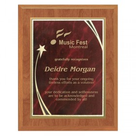 Maple and Red Star Plaque PLV562-MAPLE-RED