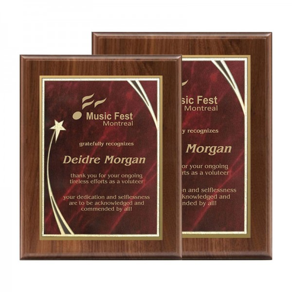 Walnut Plaque Shooting Star Series PLW522-RED-SIZES