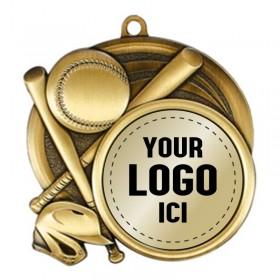 Médaille Baseball 2 1/2 po MSI-2502-LOGO