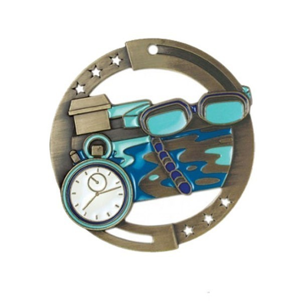 Médaille Natation or 2 3/4 po M3SS2G