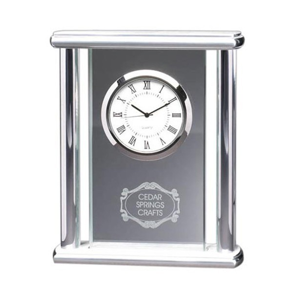 Glass Clock Silver Pillars DA9372